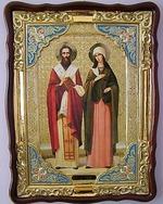 Киприан и Устинья, в фигурном киоте, с багетом. Храмовая икона (60 Х 80)