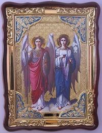 Арх. Михаил и Гавриил, в фигурном киоте, с багетом. Храмовая икона (82 Х 114)