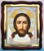 Спас Нерукотворный, в фигурном киоте, с багетом. Храмовая икона (43 Х 50)