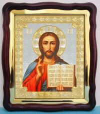 Спаситель (1), в фигурном киоте, с багетом. Храмовая икона (43 Х 50)