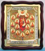 Древо Богородицы, в фигурном киоте, с багетом. Храмовая икона (43 Х 50)