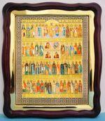 Собор Целителей, в фигурном киоте, с багетом. Храмовая икона (43 Х 50)