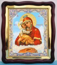 Почаевская Б.М., в фигурном киоте, с багетом. Храмовая икона (43 Х 50)