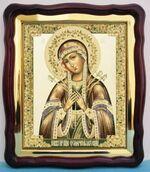 Умягчение злых сердец Б.М., в фигурном киоте, с багетом. Храмовая икона (43 Х 50)
