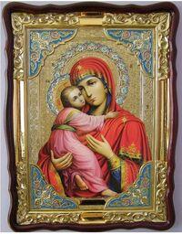 Владимирская Б.М., в фигурном киоте, цвет, с багетом. Храмовая икона (82 Х 114)