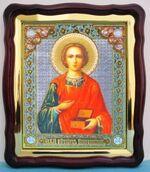 Пантелеймон (пояс), в фигурном киоте, с багетом. Большая аналойная икона (28 Х 32)