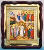 Покров Хотьковский, в фигурном киоте, с багетом. Храмовая икона (43 Х 50)