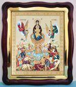 Живоносный источник Б.М., в фигурном киоте, с багетом. Храмовая икона (43 Х 50)