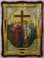 Воздвижение Честного Креста Господня, в фигурном киоте, с багетом. Большая Храмовая икона (82 Х 114)