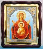 Знамение Б.М., в фигурном киоте, с багетом. Храмовая икона (43 Х 50)