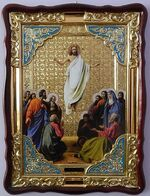 Вознесение Христово, в фигурном киоте, с багетом. Храмовая икона (82 Х 114)