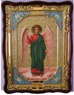 Ангел Хранитель (рост), в фигурном киоте, с багетом. Большая Храмовая икона 82 Х 114 см.