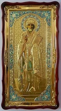Николай Чудотворец (рост), в фигурном киоте, ризе, с багетом. Большая Храмовая икона (61 х 112)