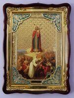 Всех скорбящих Радость Б.М., в фигурном киоте, с багетом. Храмовая икона (82 Х 114)