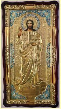 Спаситель (рост), в фигурном киоте, ризе, с багетом. Большая Храмовая икона (61 х 112)