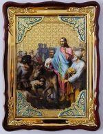 Вход в Иерусалим, в фигурном киоте, с багетом. Большая Храмовая икона (82 Х 114)