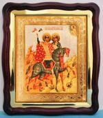 Борис и Глеб, в фигурном киоте, с багетом. Храмовая икона (43 Х 50)