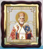 Николай Чудотворец (14), в фигурном киоте, с багетом. Храмовая икона (43 Х 50)