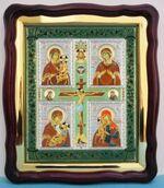 Четырехчастная Б.М., в фигурном киоте, с багетом. Храмовая икона (43 Х 50)