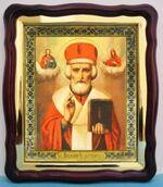 Николай Чудотворец (16), в фигурном киоте, с багетом. Храмовая икона (43 Х 50)