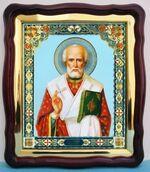 Николай Чудотворец (22), в фигурном киоте, с багетом. Храмовая икона (43 Х 50)
