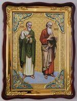 Апостолы Андрей и Матфей., в фигурном киоте, с багетом. Храмовая икона 60 Х 80 см.