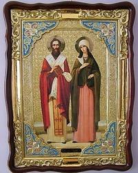Киприан и Устинья, (рост), в фигурном киоте, с багетом. Большая Храмовая икона (82 Х 114)