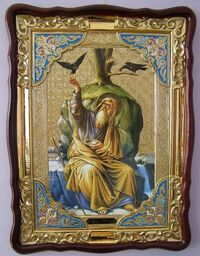 Пророк Илья (птицы), в фигурном киоте, с багетом. Храмовая икона (82 Х 114)