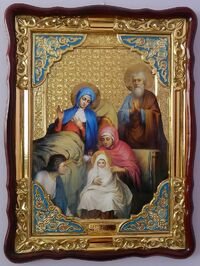 Рождество Пресвятой Богородицы, в фигурном киоте, с багетом. Большая Храмовая икона (82 Х 114)