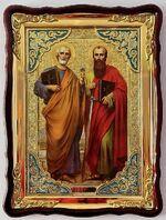 Петр и Павел, Св. Ап., в фигурном киоте, с багетом. Храмовая икона (82 Х 114)