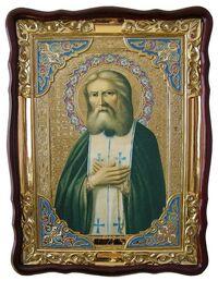 Серафим Саровский, в фигурном киоте, с багетом. Храмовая икона (82 Х 114)