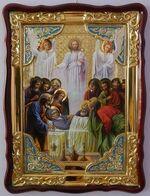 Успение Пресвятой Богородицы, в фигурном киоте, с багетом. Большая Храмовая икона (82 Х 114)
