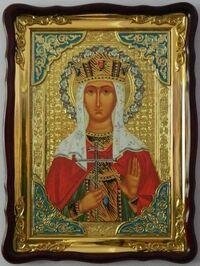 Царица Александра, Св. муч., в фигурном киоте, с багетом. Храмовая икона (60 Х 80)