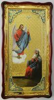 Благовещение, в фигурном киоте, с багетом. Большая Храмовая икона (61 х 112)