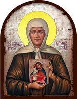 Матрона Московская, с иконой Б.М., икона под старину JERUSALEM, арка (13 Х 17)