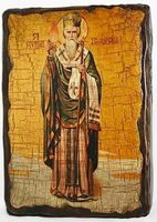 Спиридон Тримифунтский (рост), икона под старину, сургуч (13 Х 17)