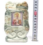 Николай Чудотворец, керамика, икона малая, цвет светлая глазурь (СА).