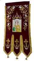 Хоругвь текстиль, бархат, двух-сторонняя вышивка, бордовая. Георгий Победоносец + Крест