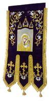 Хоругвь текстиль, бархат, двух-сторонняя вышивка, черная. Казанская Б.М. + Николай Чудотворец