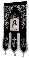 Хоругвь текстиль, бархат, двух-сторонняя вышивка, черная + серебро. Спаситель + Троица
