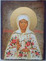 Матрона Московская, в белом, с цветами, одеянии, икона под старину JERUSALEM прямая (11 Х 15)