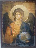 Арх. Михаил (пояс), икона под старину JERUSALEM прямая (13 Х 17)