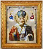 Николай Чудотворец в митре. Икона в багетной рамке 19 Х 22