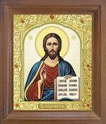 Спаситель. Икона в деревянной рамке с окладом (Д-25псо-22)