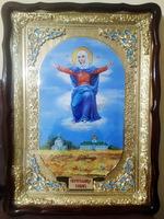 Спорительница хлебов Б.М., в фигурном киоте, с багетом. Храмовая икона (60 Х 80)