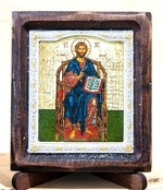 Спаситель на троне, Икона Византикос, полуоклад, 8Х6