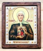 Матрона Московская, с иконой Б.М., Икона Византикос, полуоклад, 12Х14