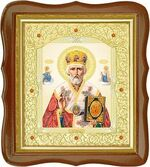 Николай Чудотворец, средняя аналойная икона, фигурный киот (Д-20фс-25)