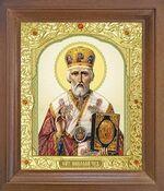 Николай Чудотворец. Икона в деревянной рамке с окладом (Д-25псо-25)