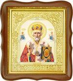 Николай Чудотворец, средняя аналойная икона, фигурный киот (Д-17фс-25)